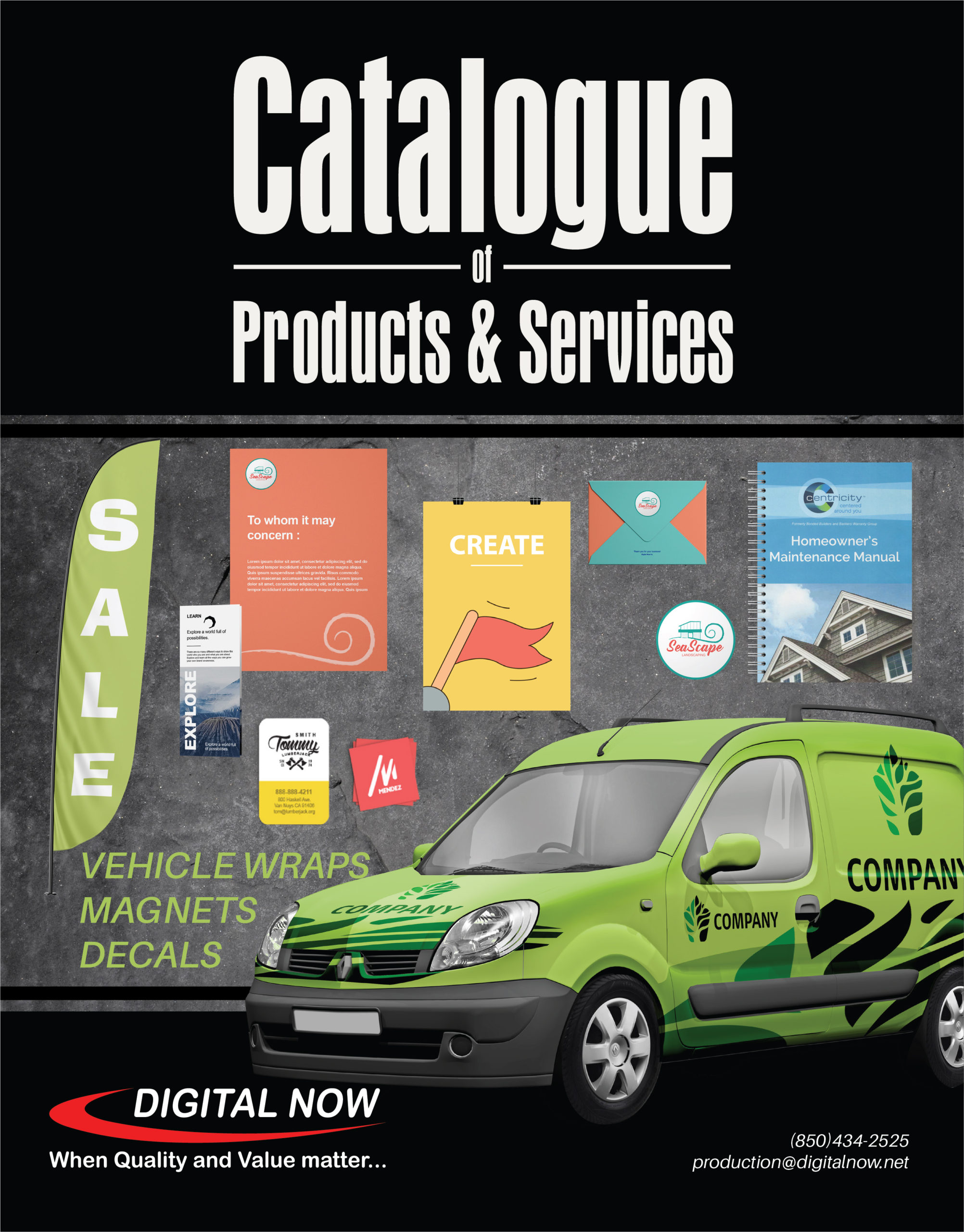 Catalogue cover featuring images of available products.