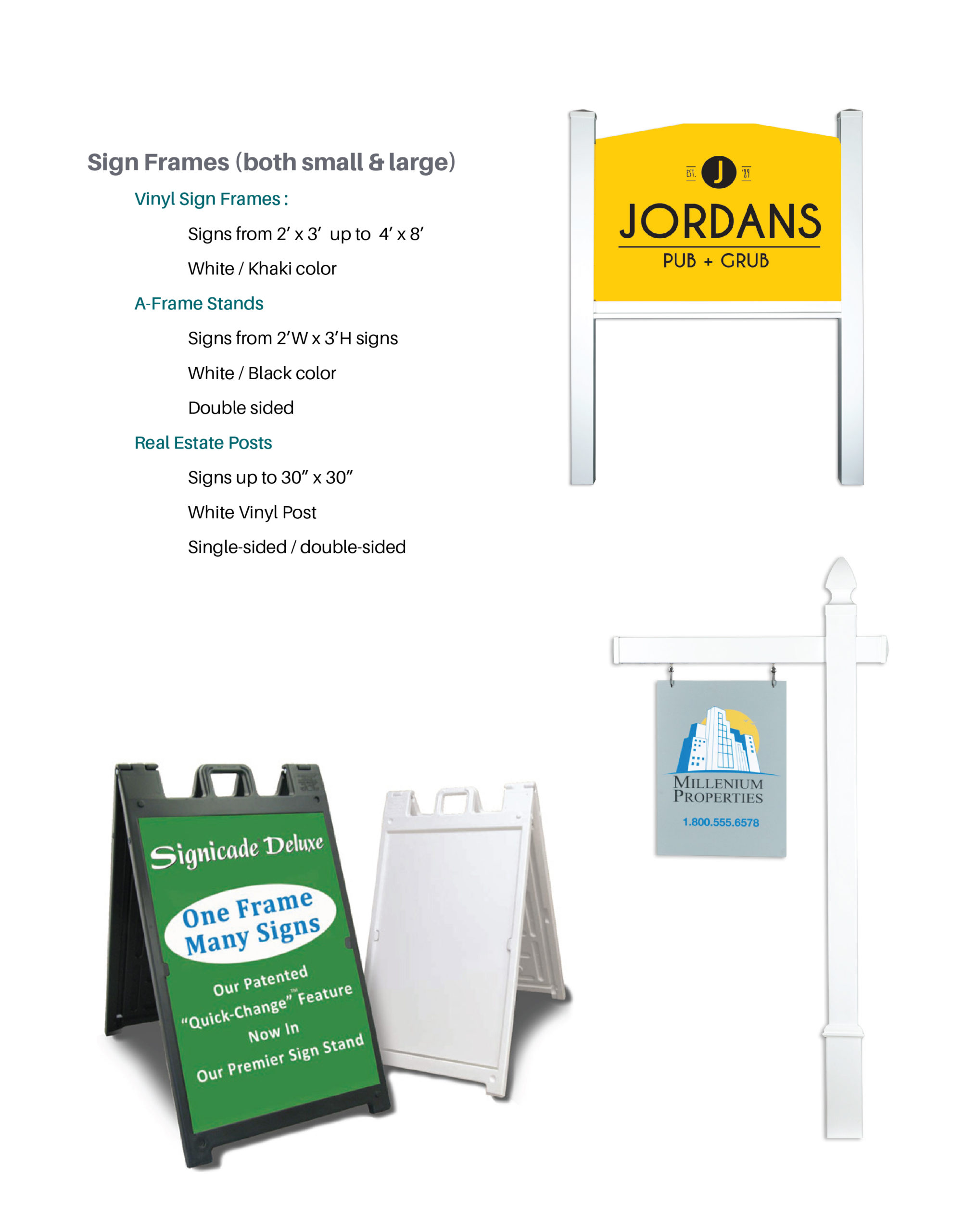 Sign Frames and Product Details