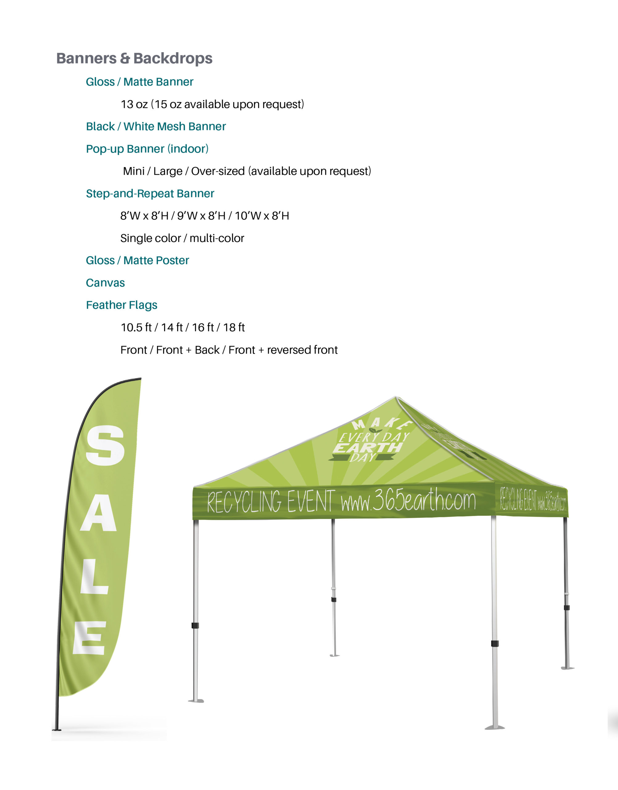Banners and Backdrops with product details