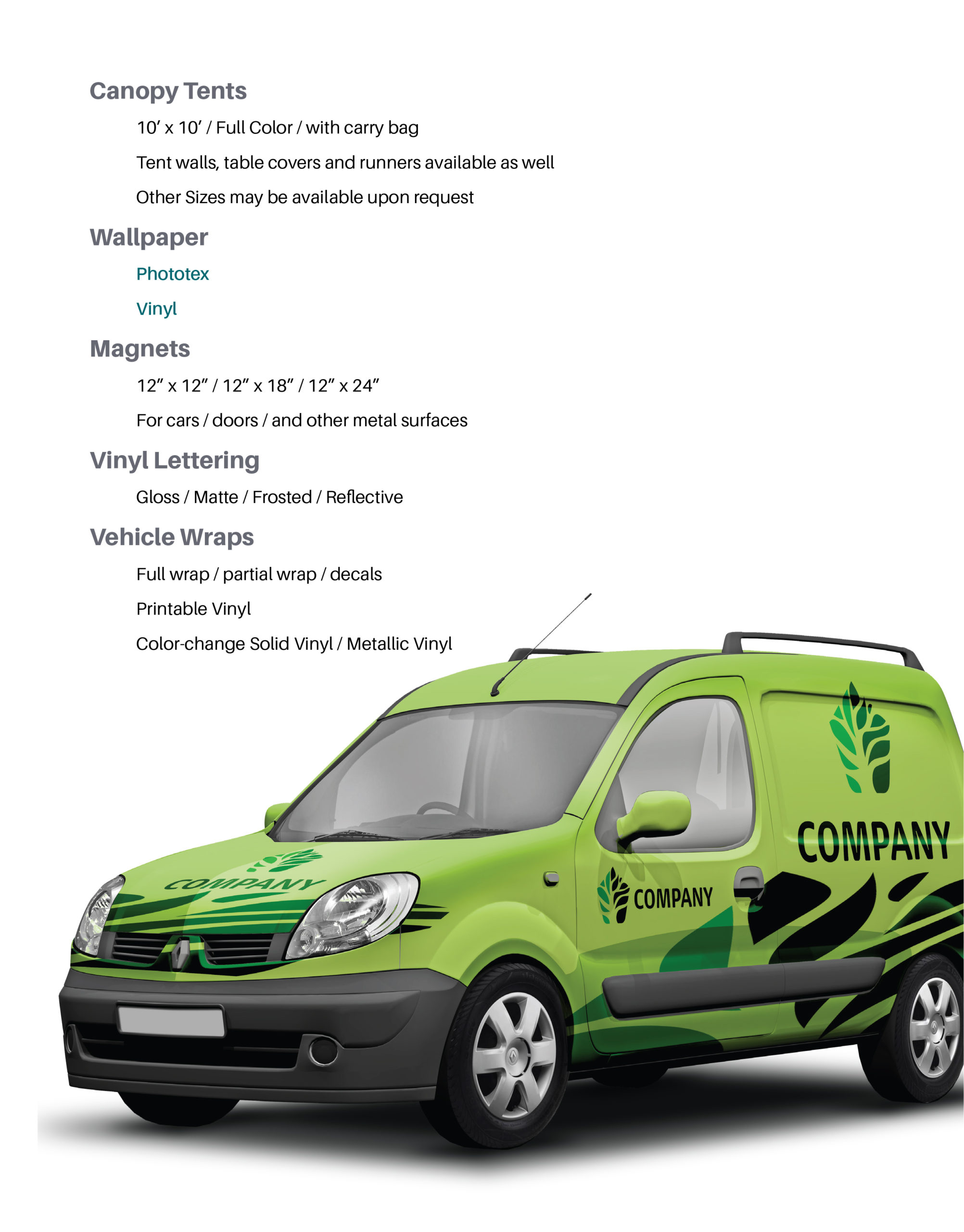 Page featuring products: Canopy Tents, Wallpaper, Magnets, Vinyl Lettering, and Vehicle Wraps