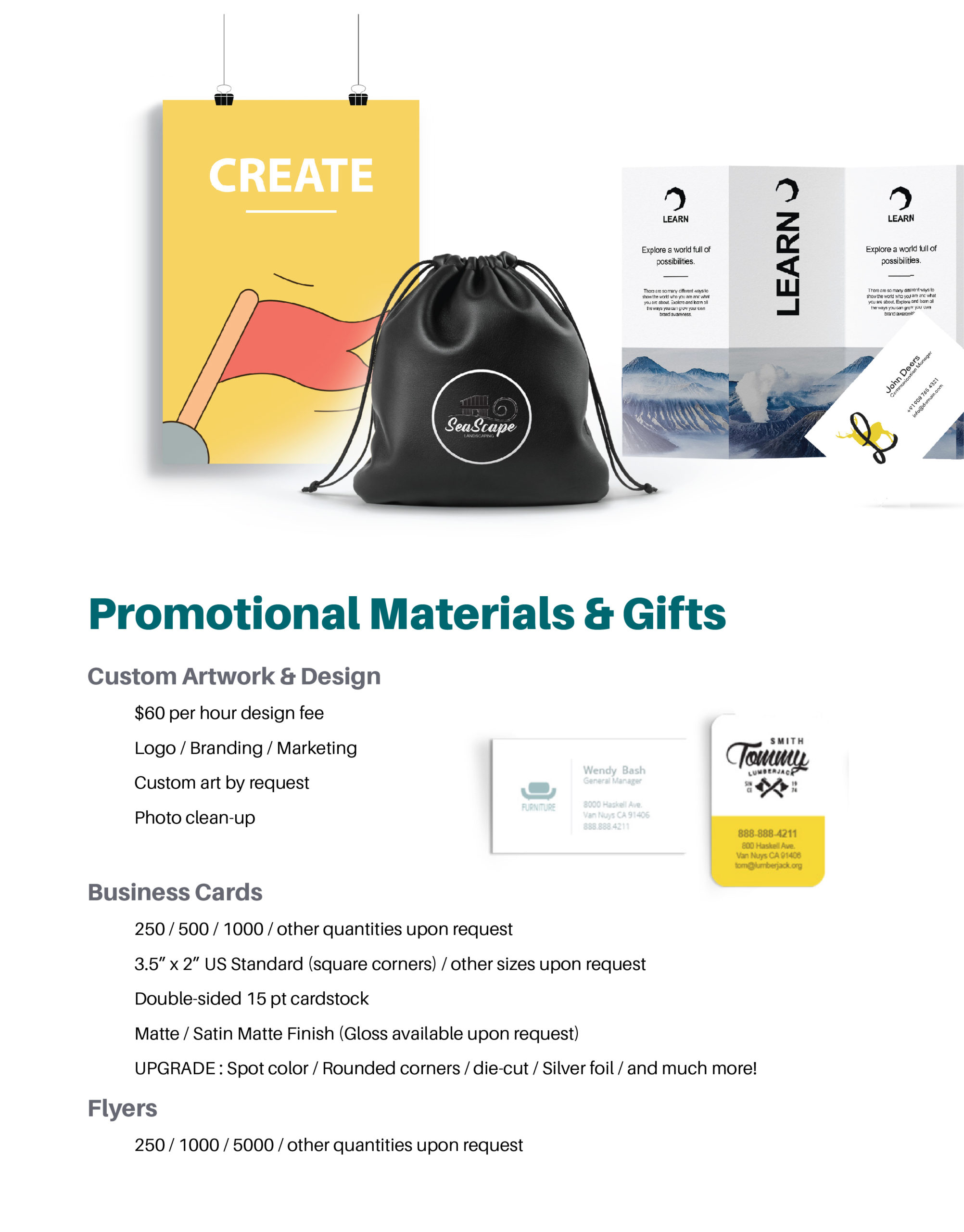 Page featuring Promotional Materials and Gifts: Custom Artwork and Design, Business Cards, Flyers