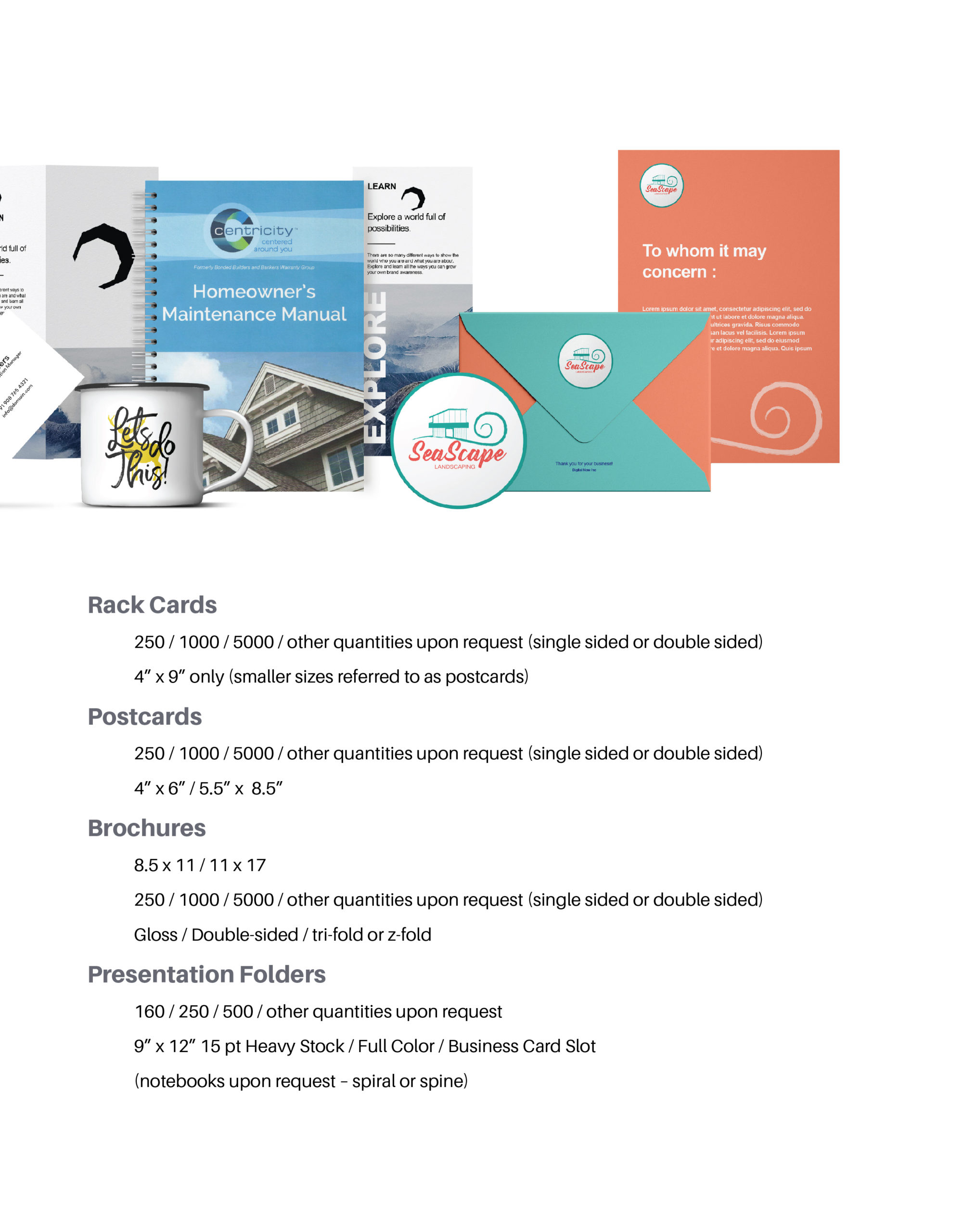 Page featuring product details on: Rack cards, Postcards, Brochures, and Presentation Folders