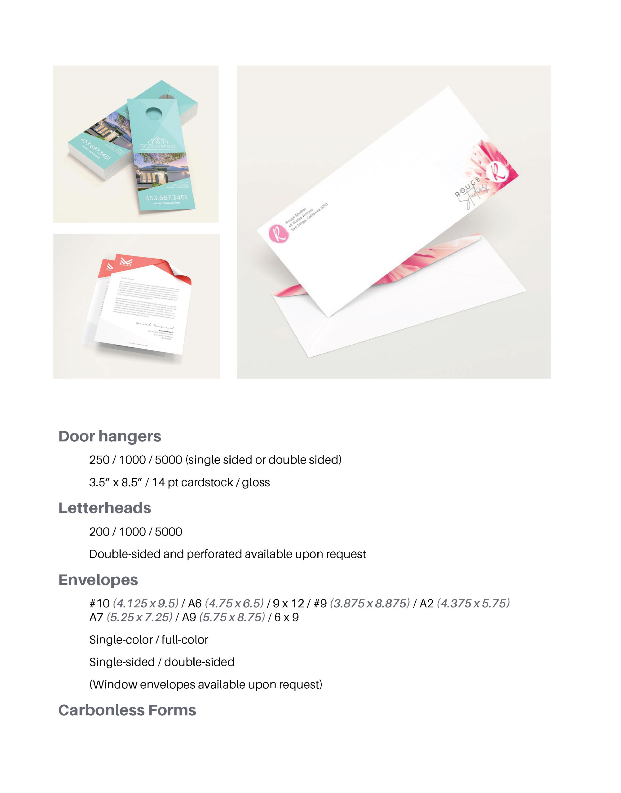 Page featuring product details on: door hangers, letterheads, envelopes, carbonless forms