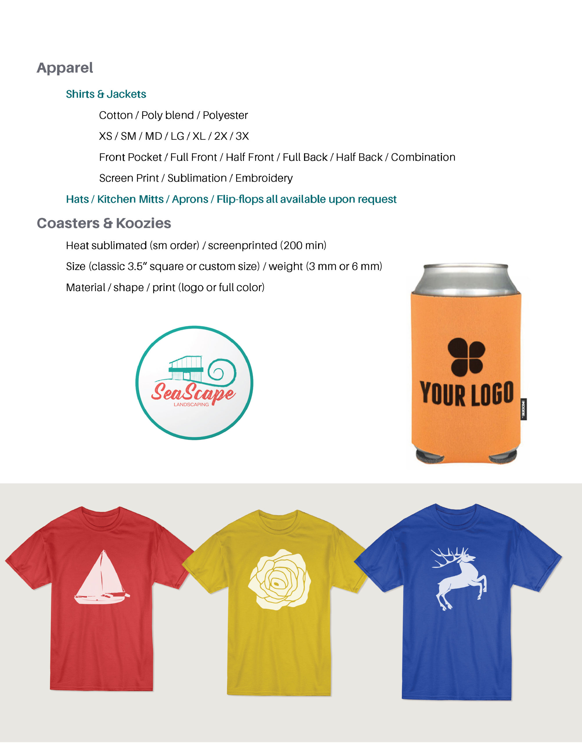 Page featuring product details on: shirts and jackets, coasters and koozies