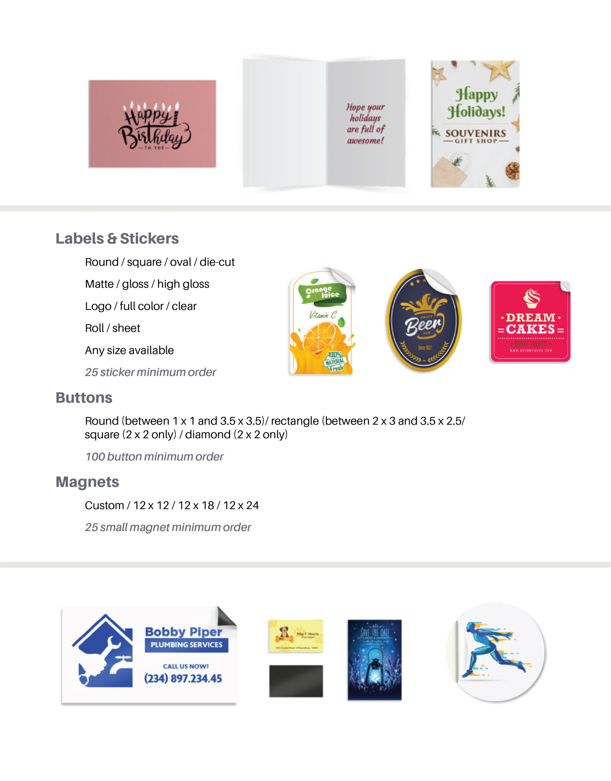 Page featuring product details on: Labels and stickers, buttons, and magnets