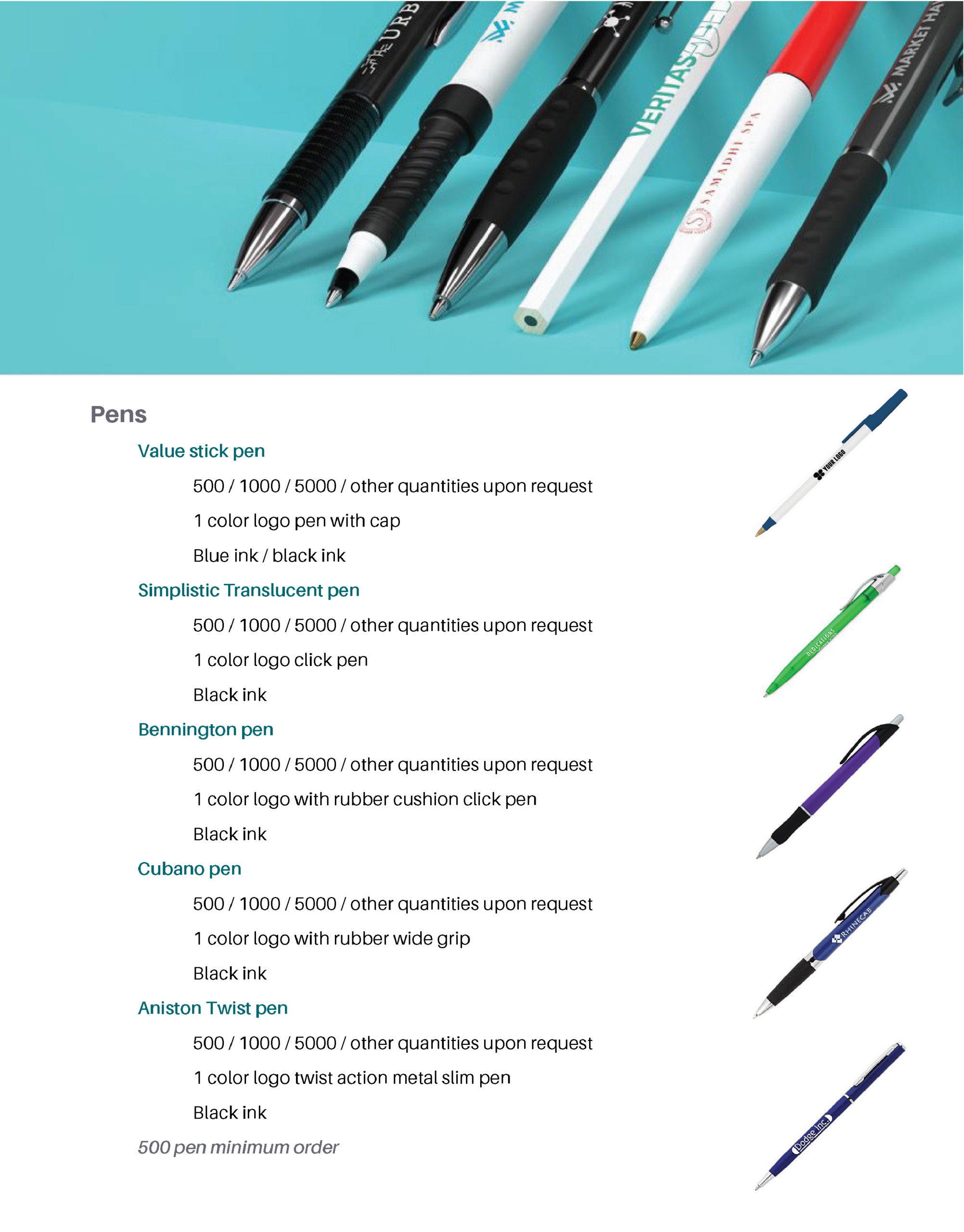 Page featuring product details on: pens
