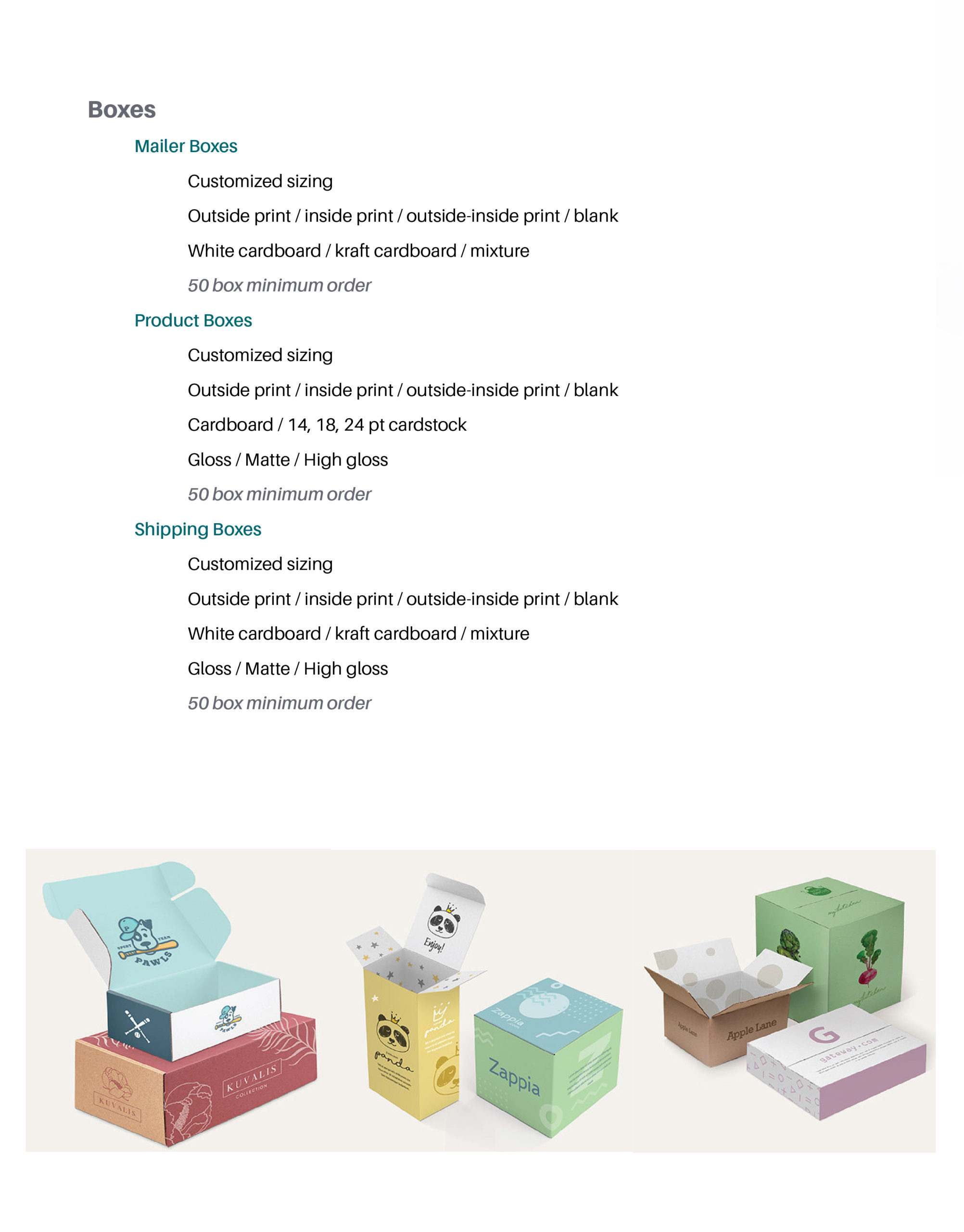 Page featuring product details on: mailer boxes, product boxes, and shipping boxes.
