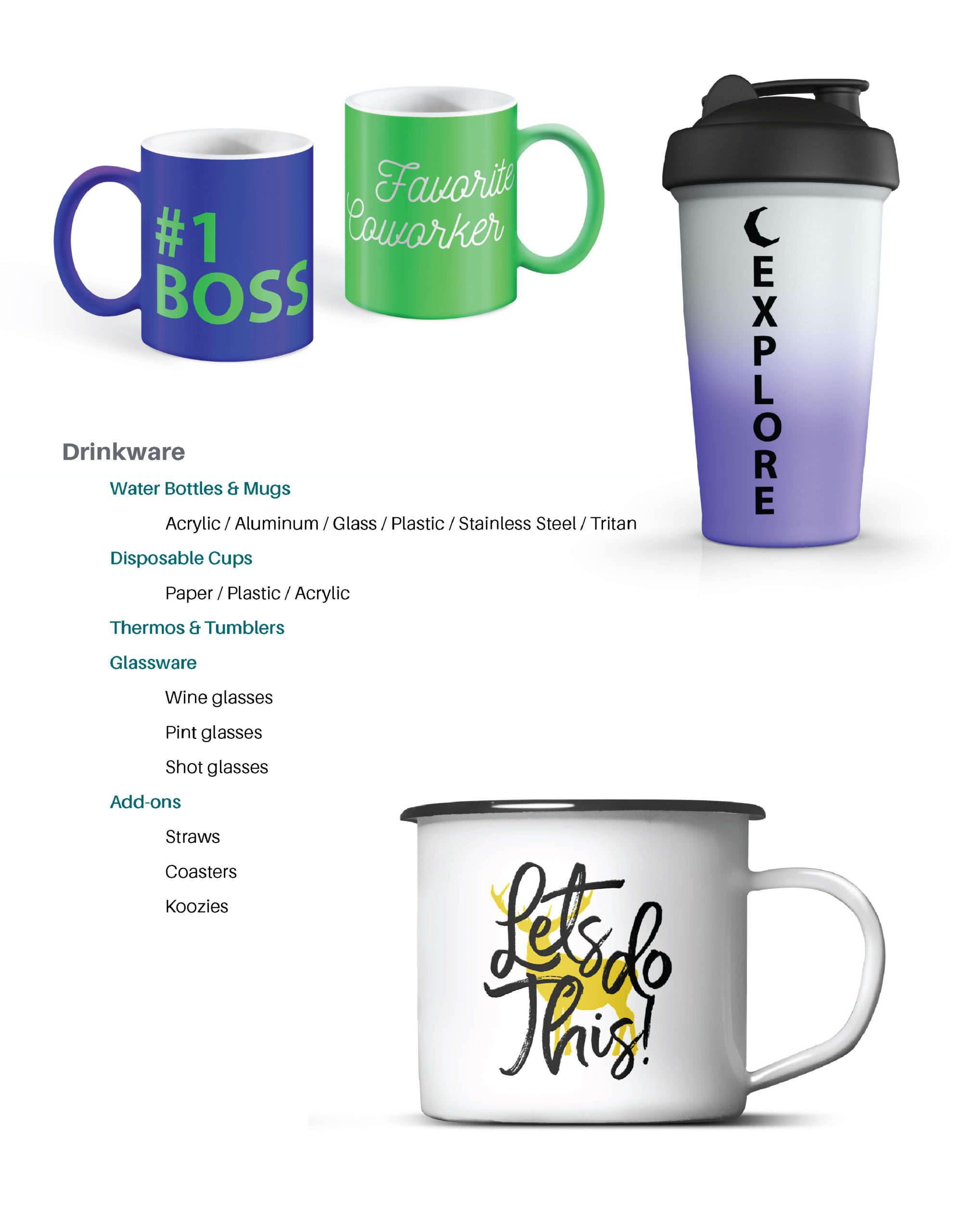 Page featuring product details on: watter bottles and mugs, disposable cups, thermos and tumblers, glassware, etc.