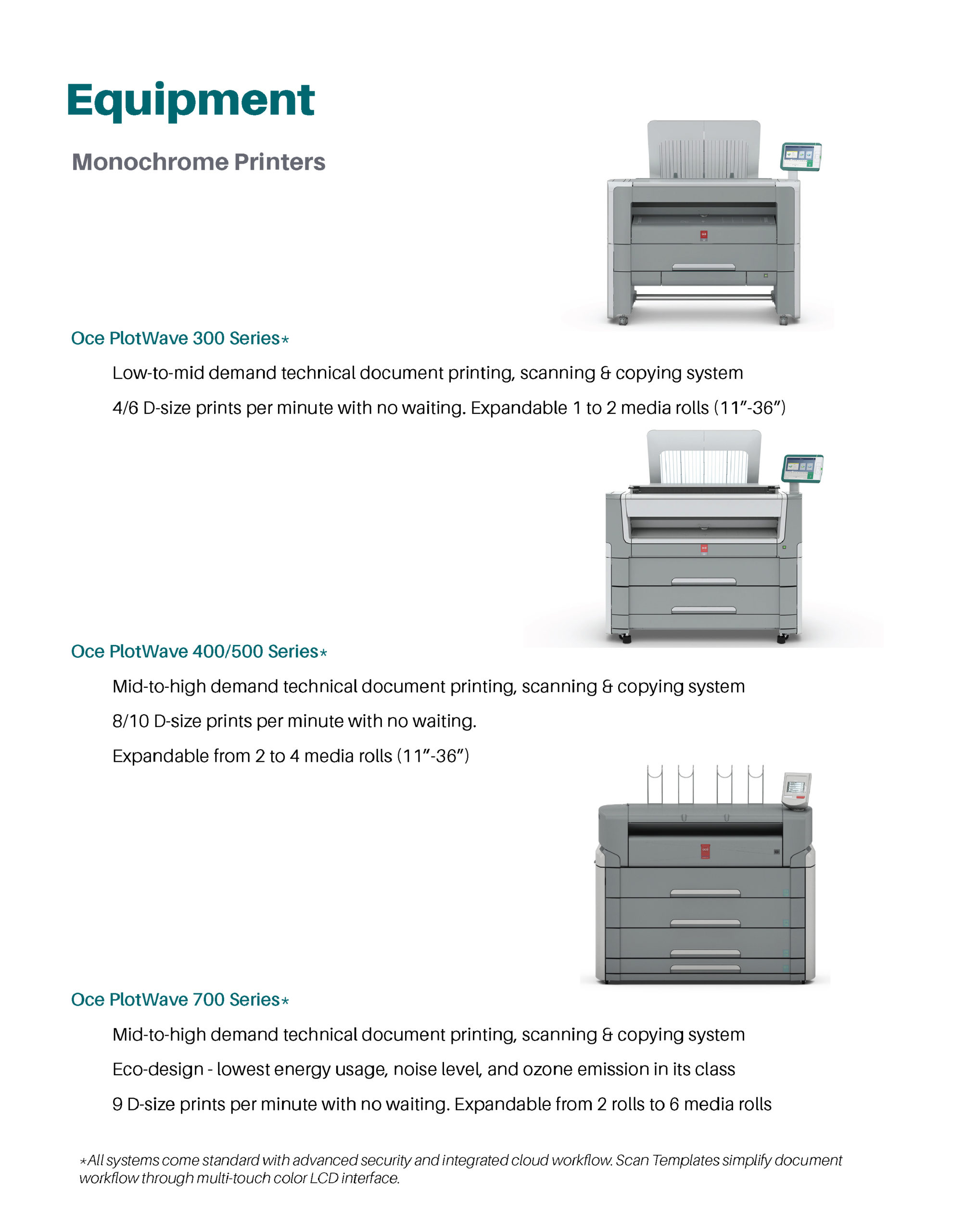 Page featuring product details on: monochrome printers