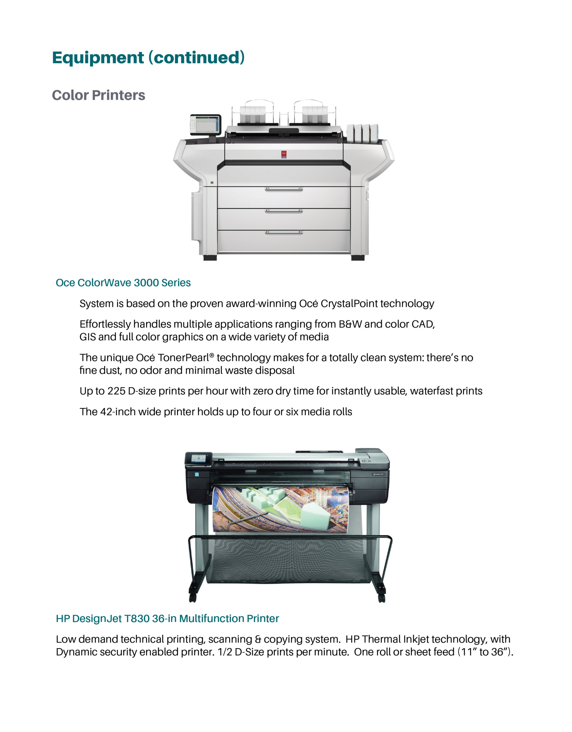 Page featuring product details on color printers