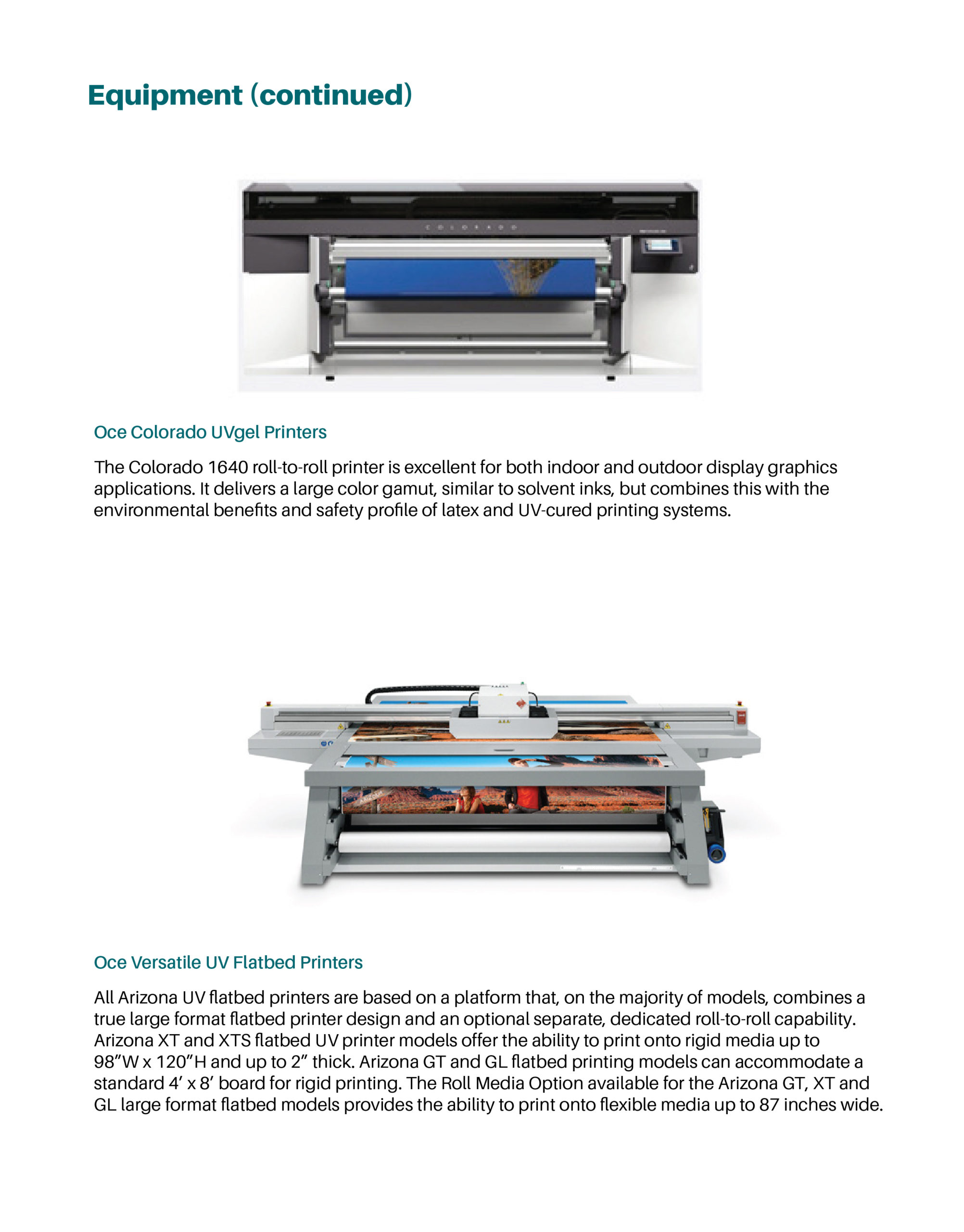 Page featuring product details on large format printers