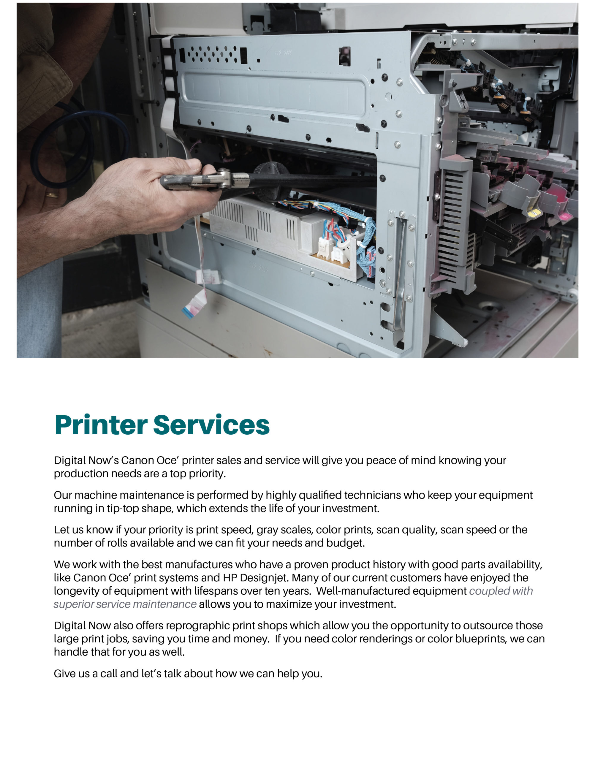 Page featuring details on printer services